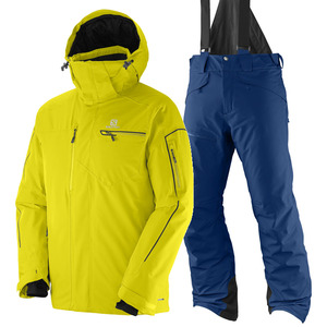 살로몬 스키복 SALOMON BRILLIANT JKT+CHILL OUT BIB PNT (LIGHT ALPHA YELLOW+MIDNIGHT BLUE)