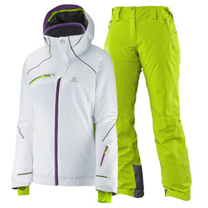 여자스키복 SALOMON SPEED JKT W+ICEGLORY PNT W (WHITE+GRANNY GREEN)