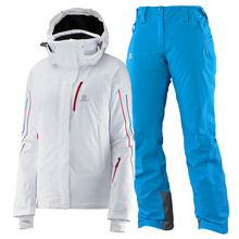 살로몬 여성스키복 SALOMON ICEGLORY JKT W+PNT W (WHITE/METHYL BLUE)