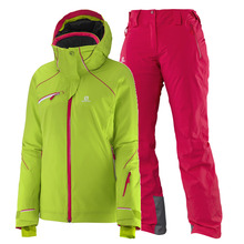 여자스키복 SALOMON SPEED JKT W+ICEGLORY PNT W (GRANNY GREEN+LOTUS PINK)